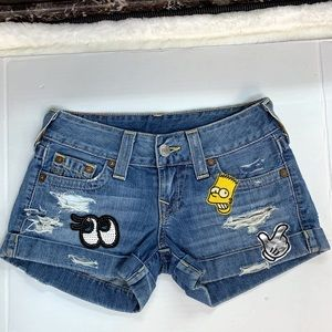 True Religion Allie Cuffed Shorts Blue size 25